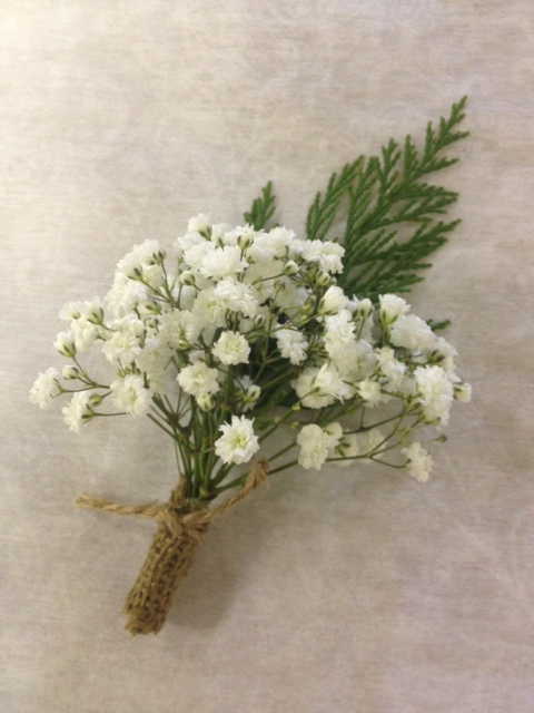 Take conventional baby's breath up a notch by clustering it with some seasonal greens for a rustic wintery look.